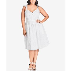 City Chic White Innocent Lace A-Line Dress 14W NEW